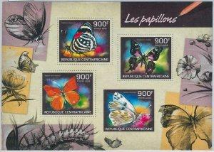 871 - CENTRAL AFRICAN R. - ERROR - IMPERF stamp sheet 2014  BUTTERFLIES