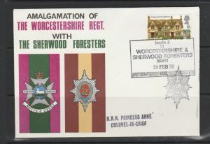 GB FDC 1970 Cottages 9d, Worcestershire & Sherwood Foresters special pmk, Imprin