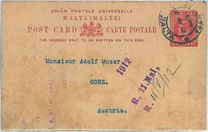 POSTAL HISTORY - POSTAL STATIONERY -  MALTA 1912 : ONE penny  to AUSTRIA