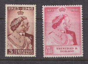 TRINIDAD & TOBAGO, 1948 Silver Wedding pair, mnh.