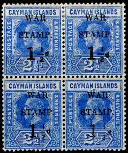 CAYMAN ISLANDS SG54a, 1½d on 2½d deep blue, NH MINT. Cat £80. BLOCK.