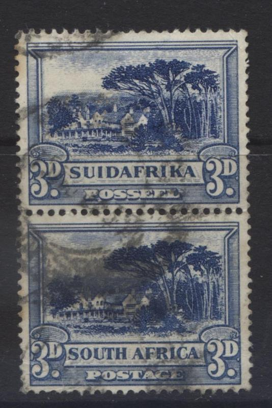 SOUTH AFRICA - Scott 39 - Groote Schuur-1930- FU - Vert. Pair 3d Stamps