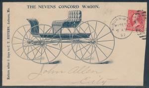 1897  THE NEVENS CONCORD WAGON ADVT VF NICE COVER,AUBURN ME CDS BR3917 HSAM