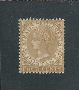 STRAITS SETTLEMENTS 1883-91 4c PALE BROWN MM SG 64 CAT £55
