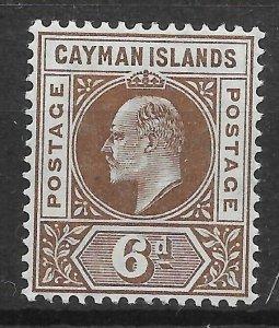 CAYMAN ISLANDS SG11 1905 6d BROWN MTD MINT