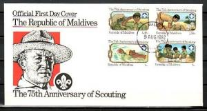 Maldives, Scott cat. 956-959. Scouting, 75th Anniv. IMPF issue. First day cover.