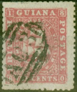 British Guiana 1863 8c Carmine SG73 P.12.5 x 13 Good Used