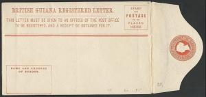 BR GUIANA QV 4c registered envelope unused.................................49400