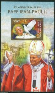CENTRAL AFRICA 95th BIRTH  ANNIVERSARY OF POPE JOHN PAUL II  IMPRF S/S  MINT  NH
