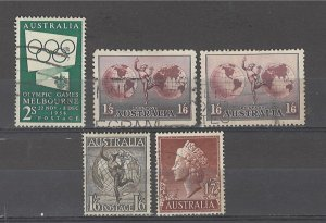 COLLECTION LOT # 4878 AUSTRALIA 5 STAMPS 1934+ CV+$12.50