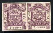 North Borneo 1888 Arms 3c violet horiz imperf pair unmoun...