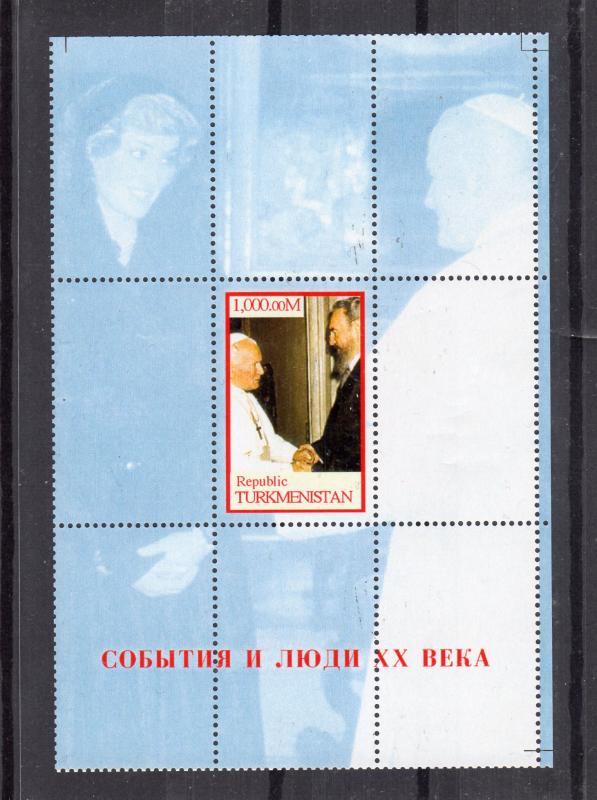 Turkmenistan 1998 Pope John Paul II Fidel Castro/Diana(1v+1SS) Perforated MNH VF