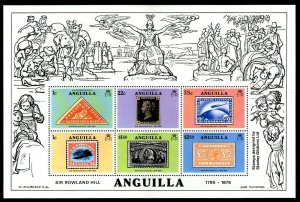 ANGUILLA - 1979 - ROWLAND HILL - RARE STAMPS - STAMP ON STAMP + MINT NH S/SHEET!