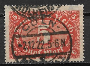 1921 Germany Sc153  5 Marks Numerals used.