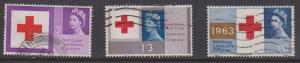 Great Britain 2015 Scott #398p-400p used - 1963 Red Cross Phosphor