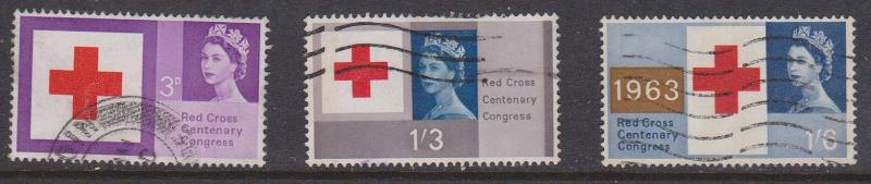 Great Britain 2015 Scott #398p-400p used - 1963 Red Cross Phosphor