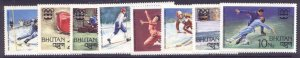 Bhutan 212-9 MNH Winter Olympics, Bobsled, Skating, Skiing