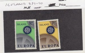 J25784  jlstamps 1957 iceland set mh #389-90 europa checked f/condition