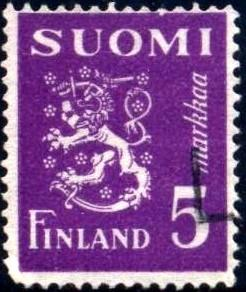 Arms, Lion, Finland stamp SC#176E used