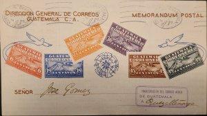 O) 1930 GUATEMALA, NICE MEMORANDUM POSTAL, SCARCE, INAUGURATION OF THE MAIL