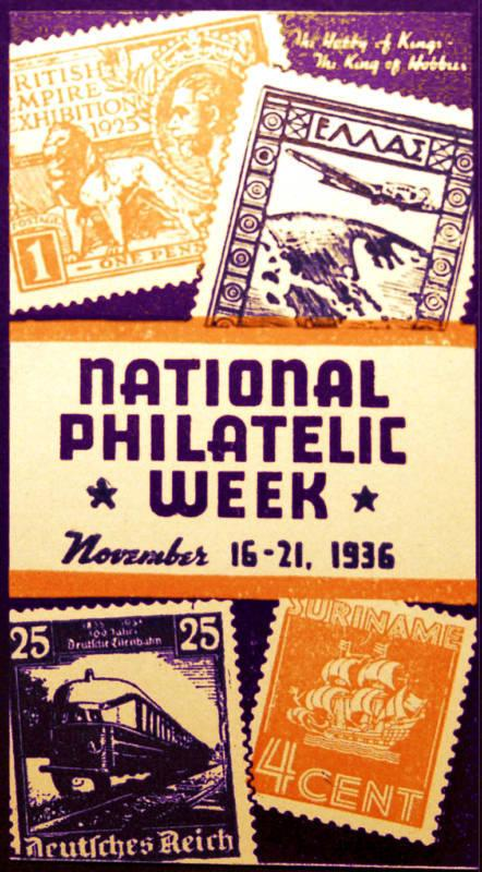 1936 National Philatelic Week Cinderella MNH