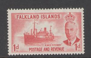 Falkland Islands 1952 King George V  1p Scott # 108 MH