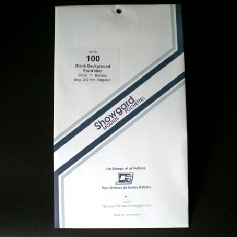 Showgard Stamp Mount Size 100 / 240 mm Strip BLACK (Pack of 7)  (100 mm 100x240)