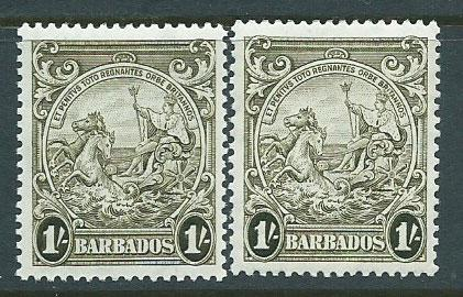 Barbados SG 255 plus 255a olive gree & dp olivegreen MLH