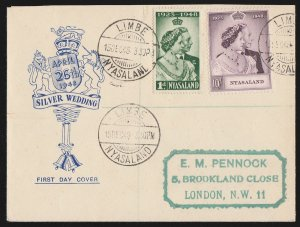 NYASALAND : 1948 KGVI Silver Wedding set pictorial FDC cover. To London.