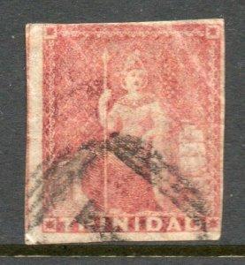 Trinidad 1854 Britannia (1d) rose-red on white paper imperf SG 12 used CV £70