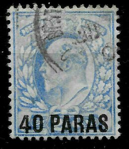 GREAT BRITAIN/TURKEY/LEVANT,  KEVII 40 PARAS Overprint on 2½d Pale Ultramarine