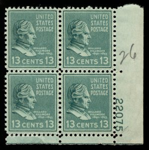 US #818 PLATE BLOCK, XF-SUPERB mint never hinged, 13 c Fillmore,  fresh color...