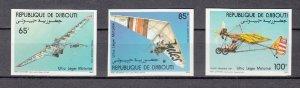DJIBOUTI SC# C193-C195 HANG GLIDERS - MNH -  IMPERF