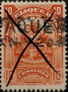 HAÏTI ca.1900 Mi.54 10c Arms cancelled New York PAQUEBOT (Hosking #950) +cross
