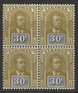 SARAWAK SG88 1928 30c BISTRE-BROWN & SLATE MNH BLOCK OF 4(1x LMM)