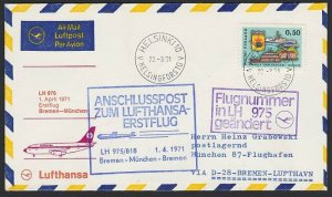 FINLAND 1971 Lufthansa first flight cover to Germany........................H287