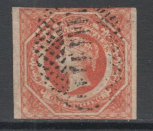 New South Wales Sc 31a used. 1854 1sh red QV definitive, fresh, sound