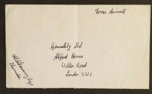 1946 Dharmsala Cantonment India to London England Royal Forces Air Mail Cover