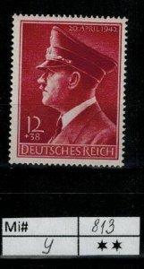 Deutschland Reich TR02 DR Mi 813 Y 1939 Reich Postfrisch ** MNH