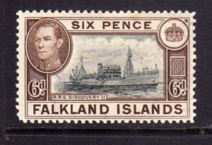 FALKLAND ISLANDS ISOLE 1938 R.R.S. DISCOVERY II KING GEORGE 6d  MNH