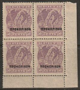 Crete 1900 Sc 60 corner block MNH** toning