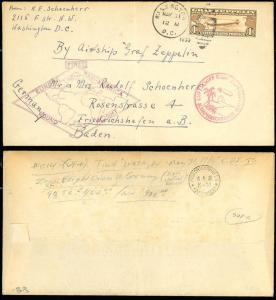 #C14 ON FLIGHT COVER NEW JERSEY TO GERMANY VIA GRAF ZEPPELIN BS8879