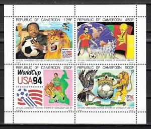 Cameroun, Scott cat. 893 A. U.S.A. World Cup Soccer Scarce sheet.