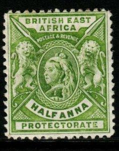 BRITISH EAST AFRICA SG65 1896 ½a YELLOW-GREEN MTD MINT