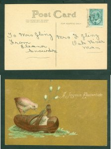 Canada. +_ 1910 Easter Card. Chicken, Shoe, Flower. Sc# 89.