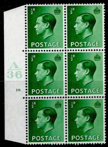 SG457, ½d green, NH MINT. Cat £30. BLOCK OF 6. CYL No 10 DOT.