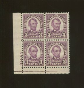United States Postage Stamp #584 MNH VF Plate No. 18445 Block of 4