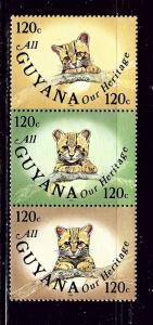 Guyana 929 MNH 1985 Ocelot Cub Triptych