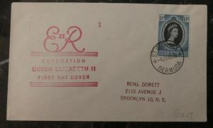1953 St George Bermuda QE 2 Coronation First Day Cover Queen Elizabeth FDC Usa