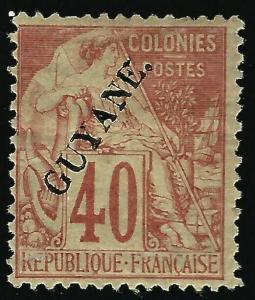 French Guiana #28 Mint F-VF hr  Cat 135...Fill a key Spot!!